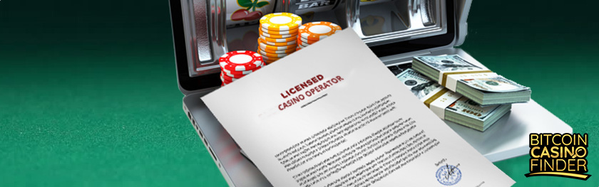 Casino License, Poker Chips, and USD