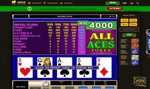 Argo Casino All Aces Poker Game Screenshot