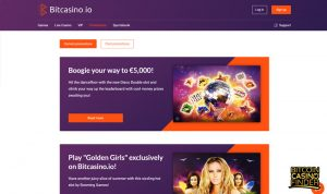 Bitcasino.io Promotions Page Screenshot