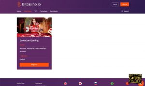 Bitcasino.io Live Casino Page Screenshot
