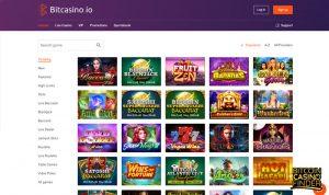 Bitcasino.io Games Page Screenshot