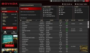 Bovada Card Games Page Screenshot
