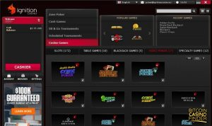 Ignition Casino Video Poker Games Page Screenshot