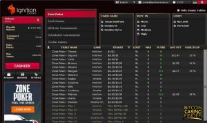 Ignition Casino Poker Games Page Screenshot