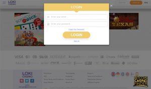 Loki Casino Login Screenshot