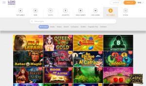Loki Casino BTC Games Page Screenshot