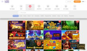 Loki Casino Slots Games Page Screenshot