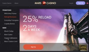 Mars Casino Reload Bonuses Page Screenshot