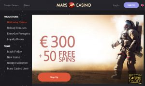Mars Casino Free Spins Page Screenshot